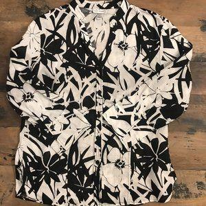 HARVE BENARD Linen Blend Black & White Floral Top